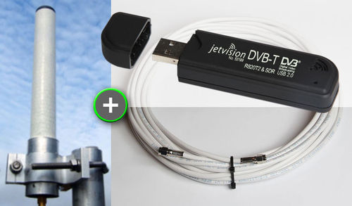"BUNDLE: ""Active Diapason"" Antenna (1090 MHz)+ ADS-B USB Dongle + 20 m Antenna Cable"