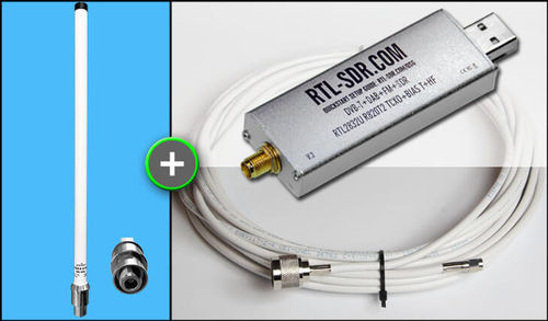 BUNDLE: RTL-SDR R820T2 TCXO + A3 Antenna + Cable